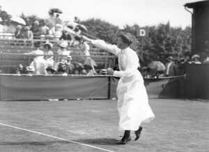 British tennis player Charlotte Sterry (nee Cooper), winner of the Wimbledon Ladies Singles title in 1895, 1896, 1898, 1901 and 1908, in action at Wimbledon. (Photo by Hulton Archive/Getty Images)