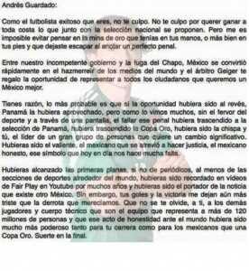 Carta a Andres Guardado