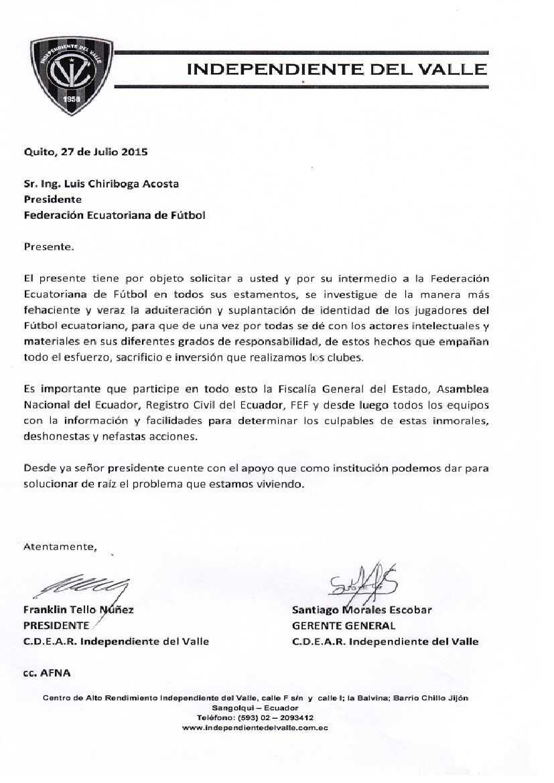 OFICIO Independiente Del Valle Pasados de Edad FEF