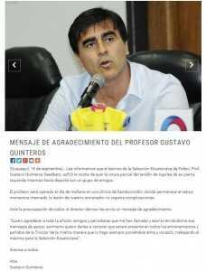 Comunicado FEF Gustavo Quinteros