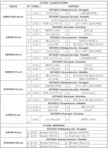 Calendario fútbol femenino