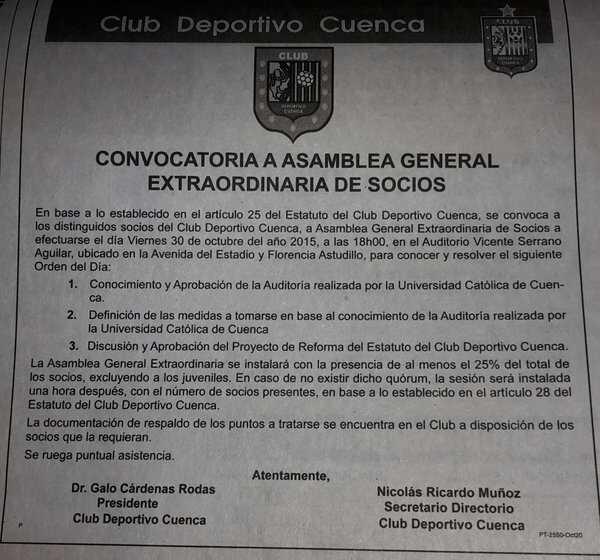 Convocatoria Asamblea Deportivo Cuenca