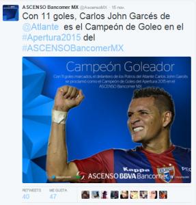 Carlos Garcés campeón de goleo