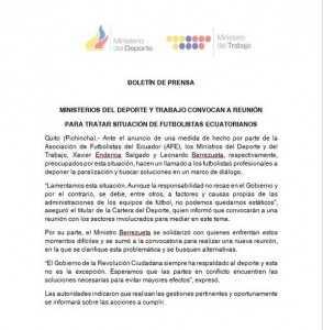 Comunicado MinisterioDeporteTrabajo