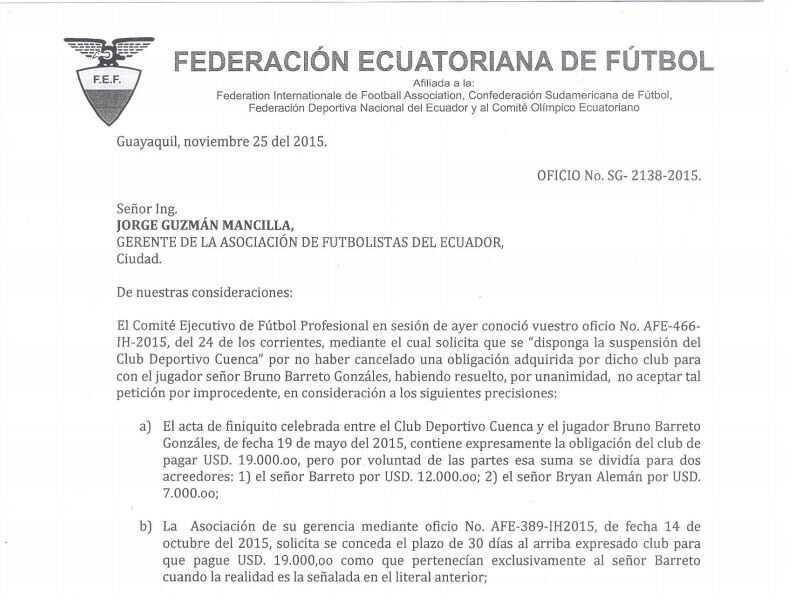 Contestacion de FEF a la AFE