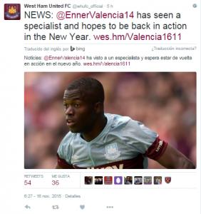 Enner Valencia lesión