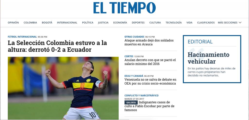 El Tiempo de Colombia